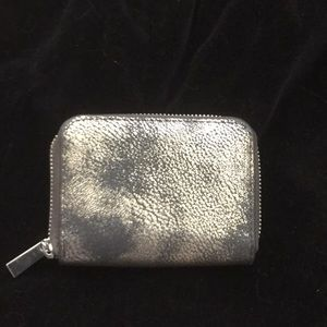 Small square faux leather distressed metal wallet